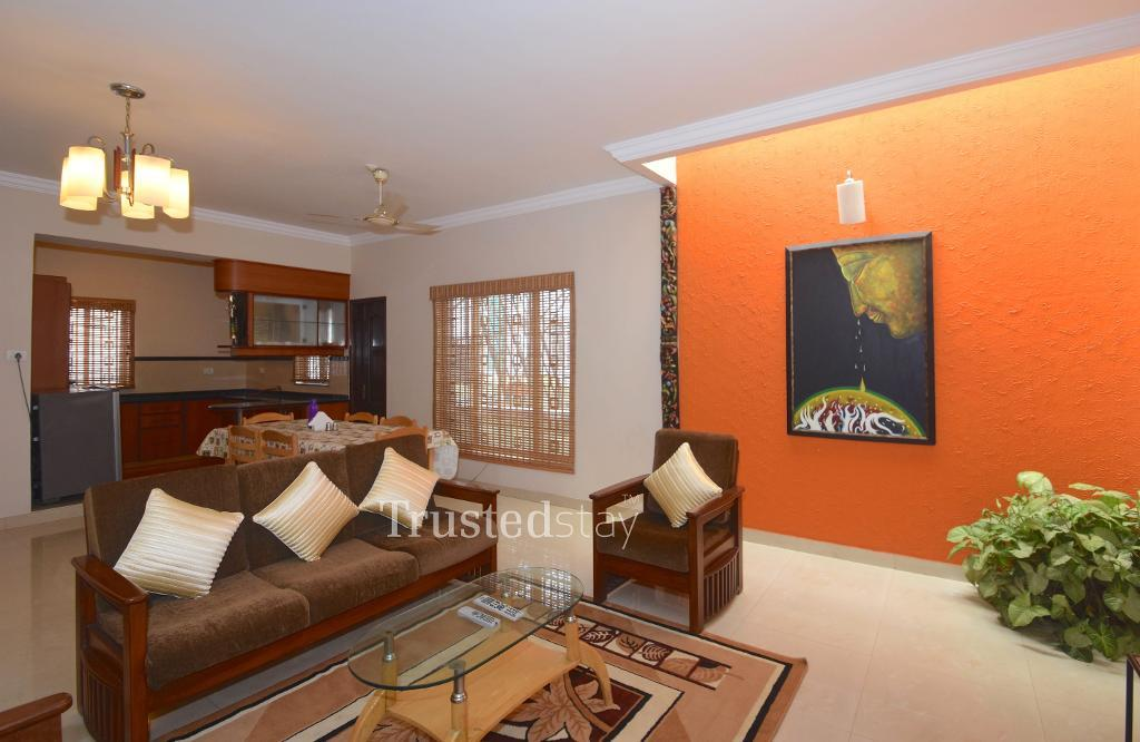 Furnished living area at TrustedStay  Service Apartments in Bangalore
