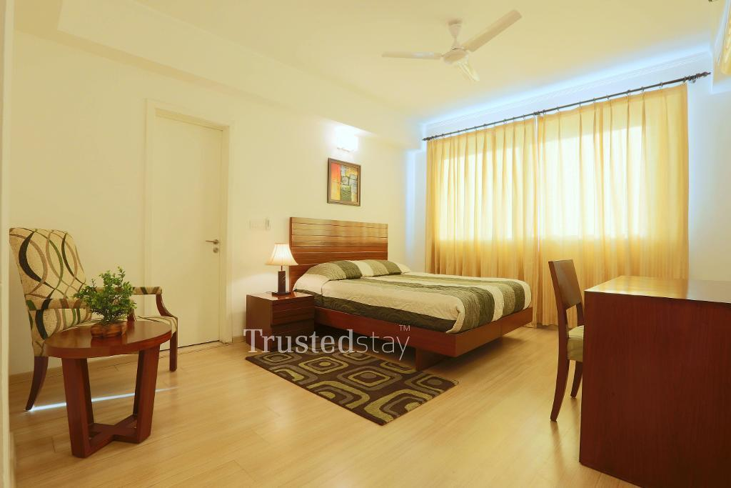 TrustedStay  Service Apartments in Gurgaon, New Delhi | Bedroom